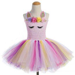 White Tutus For Sale Australia - Hot Sale Summer Party Girls TUTU Dress Unicorn Colorful Dance Costumes Summer Wedding Dresses For Kids Girl's princess Dresses