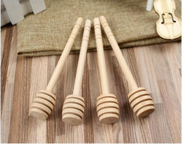 15 cm agitateur en bois cuillère à miel bâton pour pot de miel à long manche de mélange bâton de miel louche partie offre en Solde