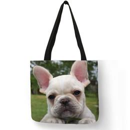 e9484bd64aff Эксклюзивный милый бульдог эмодзи принт эко льняная большая сумка для  женщин леди дорожные пляжные сумки тканевые сумки сумка прямая поставка