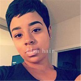 Black Hair Sale Australia - Cheap Short Pixie Cut Wigs Brazilian Hair Wig Hot Sale Short Wigs For Black Women Cheap Human Hair Wigs