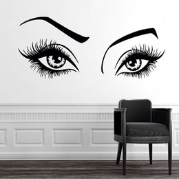 $enCountryForm.capitalKeyWord NZ - Sexy Girl Eyes Wall Decal for Beauty Hair Salon Wall Decor Vinyl Art Stickers Eyelashes and Eyebrows Sticker Home Decorate