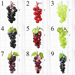 plastic grapes home decor UK - 1 pcs Artificial Fruit Grapes Plastic Fake Decorative Fruit Lifelike Home Wedding Party Garden Decor mini simulation fruit