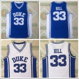 $enCountryForm.capitalKeyWord Australia - NCAA Duke 33 Hill Blue And white Embroidered logo Basketball Jersey S-XXL