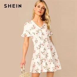 Fit Flare Dress White Australia - Boho White Ruffle Sleeve Button Up V Neck Floral Print Summer Dress Women Flounce Sleeve Fit And Flare Elegant Dresses C19041001