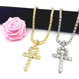 $enCountryForm.capitalKeyWord Australia - Mens Bling Iced Out Egyptian Ankh Key Pendant Necklaces 18K Gold Plated Hip Hop Rhinestones Crystal Cuban link Chain Men Jewelry Necklace