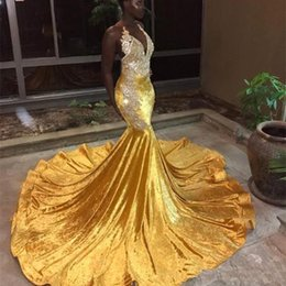 sexy porm dresses NZ - 2019 Elegant Yellow Velvet Long Mermaid Prom Dresses For Black Girl Halter Lace Appliques Evening Gowns Backless Sweep Train Porm Vestidos