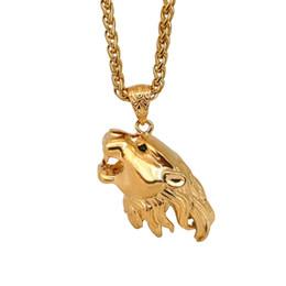 Big Lion Chain Australia - Hip Hop Big Lion Head Pendant & Necklace Stainless Steel Animal King Vintage 18K Gold Color Hiphop Chain For Men Women Jewelry Gift