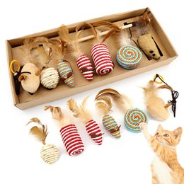 $enCountryForm.capitalKeyWord Australia - Pet Supplies Cat Toys Set Funny Cat Stick 7 Piece Feather Hemp Rope Flannel Small Mouse Pet Accessories