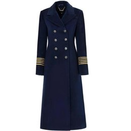 Autumn and Winter New Navy Blue double breasted Lapel Woolen Coat STYLE slim Woolen Coat on Sale