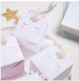 Venta al por mayor de Unicornio Caja de regalo Papel rosado blanco Caja de dulces Favores de boda y regalos Bolso Unicornio Suministros Fiesta de cumpleaños Decoraciones Niños 15 pcs