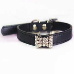Leather Dog Collars UK - Cool Dog Collars Small Dogs Bling Crystal Bow Leather Pet Collar Puppy Choker Cat Necklace dog harness leash dog cat Accessories