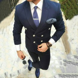 fa1a62cb4f Navy Blue Mens Suits Smart Casual Business Slim Fit Wedding Tuxedos Groom  Wear Double Breasted Bridegroom Suits 2Pieces Costume Homme Blazer