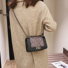Square Chains Australia - Lucky2019 Paillette Personality Phenanthrene Chic Chain Bag Small Square Package Single Shoulder Messenger Woman