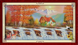 Golden Paintings Australia - House and deer Golden time home decor painting ,Handmade Cross Stitch Embroidery Needlework sets counted print on canvas DMC 14CT  11CT