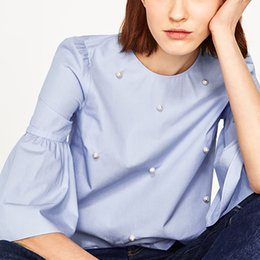 Pearl Blouses Shirts Australia - Women Spring Summer Blouse Shirt Sleeveless O-neck Casual Pearl Striped And Solid 3 4 Flare Sleeve Sweet Blouses Tops 6Q1573