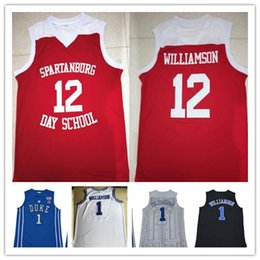 red basketball jerseys Australia - Men Spartanburg Day School #12 Zion Williamson jerseys Duke college #1 embroidered basketball jerseys custom stitched Red White Blue Black