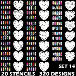 airbrush nail stencil designs NZ - Manicure Stencils Tools DIY Design Airbrushing 20 Pieces Reusable Template Sheet for Airbrush Kit Nail Art Paint Set