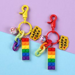 $enCountryForm.capitalKeyWord Australia - Fashion Summer Colorful Ball Rainbow Sugar Building Blocks Keychain for Women Bags Backpack Charms Jewelry Car Keychain Keyring