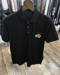Casual Products Australia - 2019 spring and summer new products chest embroidered beaded bee polo shirt lapel casual t-shirt black short sleeve