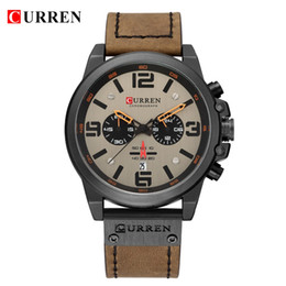 Discount curren sport watches CURREN Fashion Watches For Man Leather Chronograph Quartz Men's Watch Business Casual Date Male Wristwatch Relogio