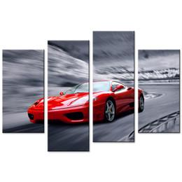 $enCountryForm.capitalKeyWord Australia - Amosi Art 4 Pieces Canvas Wall Art Red Sports Car Prints on Canvas Painting Modern for Home Living Room Bedroom Decor Unframed