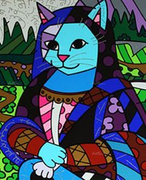 Abstract Oil Prints Australia - Romero Britto Cartoon Abstract Art The Mona Cat,Oil Painting Reproduction High Quality Giclee Print on Canvas Modern Home Art Decor