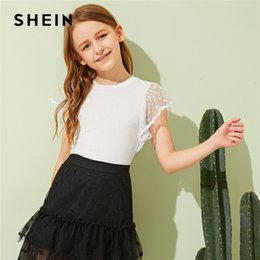$enCountryForm.capitalKeyWord Australia - SHEIN Kiddie Toddler Girls White Solid Contrast Mesh Sheer Cute T-Shirt Children Tops 2019 Summer Butterfly Sleeve Casual Tees