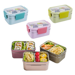 lunch box cartoons Australia - Stainless steel insulated lunch box 1200 ml 2 layer With Compartments cartoon School Bento Box For Student Children Picnic Food Container