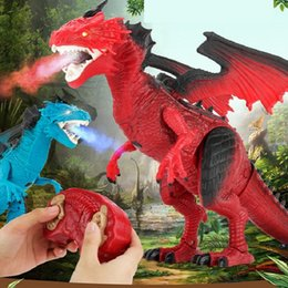 $enCountryForm.capitalKeyWord NZ - Infrared RC Dinosaur Toys Remote Control Dragon Shaking Head Light Up Eyes Walking Spray Dino Christmas Creative Toy