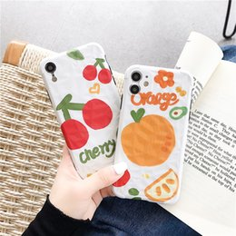 peach iphone NZ - Summer Fruits Cherry Peach Orange Full Cover Camera Protect Mobile Phone Case Cover for iphone 11 Pro Max 6 6S 7 8 Plus X XR XS Max