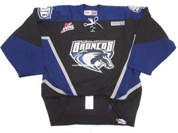 bronco jersey manning NZ - Cheap custom SWIFT CURRENT BRONCOS WHL BLACK PRO CCM HOCKEY JERSEY stitch add any number any name Mens Hockey Jersey XS-6XL