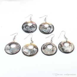 $enCountryForm.capitalKeyWord Australia - 6 Pcs Fashion Natural Natural Carved Shell Earring Vintage Silver Wedding Dangle Earrings charms Jewelry For Women 30 mm