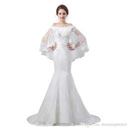 $enCountryForm.capitalKeyWord Australia - Mermaid Lace Long Wedding Dresses With Wrap 2019 New Floor Length Illusion Crystal Beading Country Wedding Dress Bridal Gowns