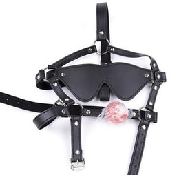 leather mask blindfolded gagged Australia - Faux Leather Ball Gag Blindfold Mask Harness Eye patch Restraint Bondage UA94 AU097