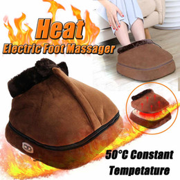 heated massage Australia - 2 IN 1 Electric Heated Foot Warmer Cosy Unisex Velvet Feet Heated Foot Warmer Massager Big Slipper Foot Heat Warm Massage Shoes