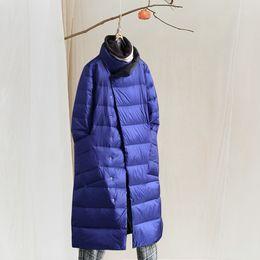 $enCountryForm.capitalKeyWord NZ - Casual Literary Lady Simple Loose Down Jacket Coat Female Winter Long Section Collar Down Jacket Black Gold Blue