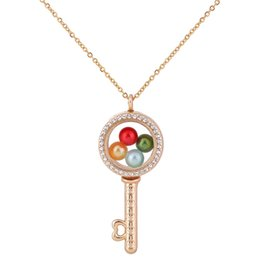 Gold caGe charm online shopping - G1293 Pearl Beads Cage Gold Circular Key With Rhinestone Magnetic Glass Floating Locket Pendants Women Charms Necklace