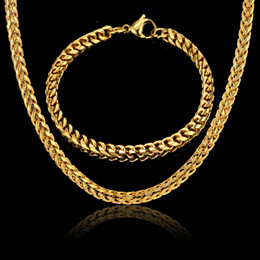$enCountryForm.capitalKeyWord NZ - Men Jewelry Sets & More Gold Color Cuban Link Chain Necklace & Bracelet For Men Stainless Steel Chain Cheap Fashion Jewelry Sets
