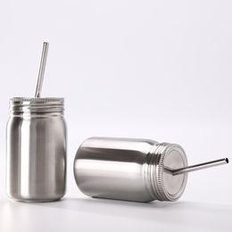 Juice Jar online shopping - Stainless Steel Mason Jar single ml Mason cup with lid straw Coffee beer juice mug mason Cans drinking cup KKA6943