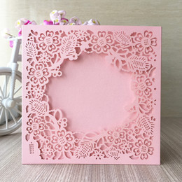 Lace invitation card designs online shopping - 20Pcs Design With Lace Flowers Wedding Invitation Cards Envelop Apply To Bridal Shower Fancy Dress Benediction Festival Cards Wish Fine