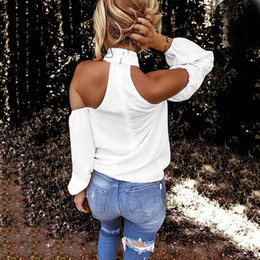 women halter tops Australia - Wholesale-Fashion Solid Halter Blouse Off Shoulder Casual Autumn Ladies Loose Bottom Tops Female Women Long Sleeve Shirt Blusas Pullover