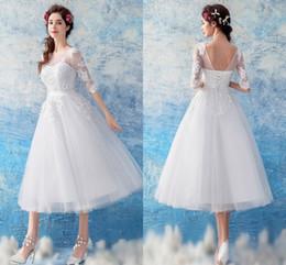 $enCountryForm.capitalKeyWord Australia - Elegant Tea Length White 2019 Wedding Dresses Bridal Gowns Sheer Neck V Backless Corset Applique Lace Cheap Wedding Gowns New Cheap