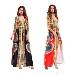 ba1bc0a215 Women Sexy Deep V Neck High Slit African Printed Ethnic Dashiki Long Maxi  Dresses Clubwear Seven-Point Sleeve