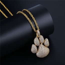 $enCountryForm.capitalKeyWord NZ - New Iced Out Chain Micro Pave Hip Hop Fashion Paw Dog Cat Claw Necklace Cubic Zircon Gold Silver Color Pendant For Man Women