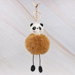 $enCountryForm.capitalKeyWord Australia - Cute Panda Artificial Rabbit Hair Soft Ball Keychain DIY Creative Ladies Bag Car Pom Pom Fluffy Key Chain Pendant