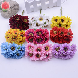 blue silk daisies Canada - Wholesale 60pcs Silk Ornate Daisy Artificial Flower For Wedding Home Decoration Chrysanthemum Mariage Flores DIY Garland Flowers