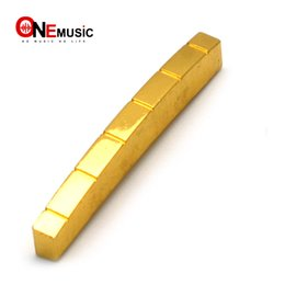 $enCountryForm.capitalKeyWord Australia - 6 String Brass Gold Plated Electric Guitar Bridge Nut for Electric Guitar 42 43x3.3x5.2-4.8MM