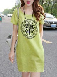 t shirt dress winter Australia - Dress Printing Round Neck Short Sleeve T Shirt Skirt