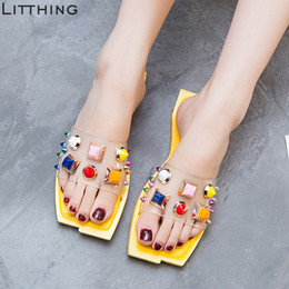 $enCountryForm.capitalKeyWord NZ - Women Slippers Open Toe Stud Flat Slides Sandals Punk Rivet Summer Beach Colorful Beautiful Shoes Indoor Outdoor Female