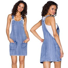 blue sleeveless overalls NZ - Vintage Blue Jeans Overall Dress Women Summer Sleeveless High Waist Casual Adjustable Strap Youthful Slim Ladies Denim Dresses Mini